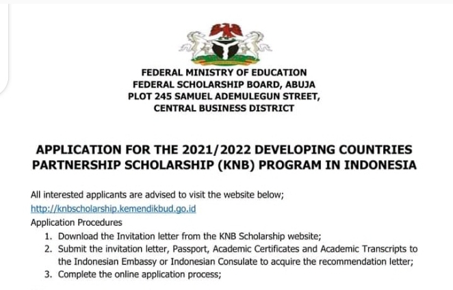 Developing Countries Partnership Scholarship (KNB) Program In Indonesia 2021/2022 - Apply Now